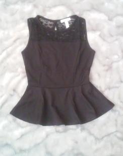 Lace Trim Peplum Top - Black