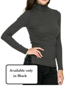 Black Solid Turtle Neck Top