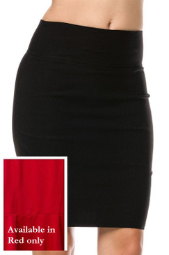 High Waisted Pencil Skirt - Red