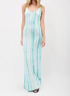Sleeveless Tie-Dye Maxi Dress - Jade/White