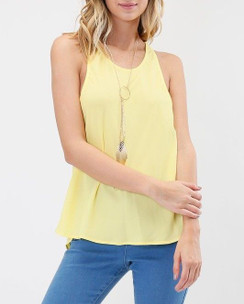 Sleeveless Racer Back Tank Top - Yellow