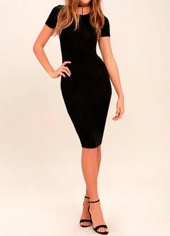 Cap Sleeve Midi Bodycon Dress - Black