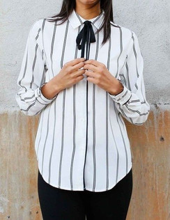 Tie Button Down Blouse- Cream/Black