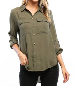 Roll Up Sleeve Blouse - Olive