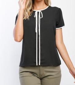 Contrast Trim Short Sleeve Blouse - Black/White