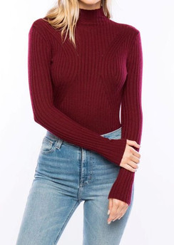 Mock Neck Bodysuit - Wine