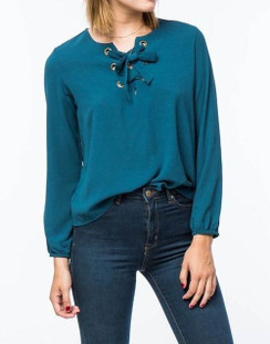 Lace-Up Grommet V-Neck Blouse - Teal