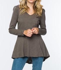 Fit & Flare top with Shoulder detail- Grey