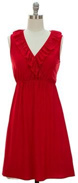 V-Neck Ruffle Front- Red