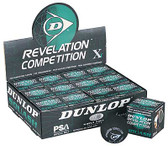 Dunlop Competition - Single Yellow Dot Squash Balls-One dozen