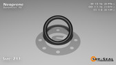 O-Ring, Black Neoprene Size: 211, Durometer: 70 Nominal Dimensions: Inner Diameter: 39/49(0.796) Inches (2.02184Cm), Outer Diameter: 1 2/27(1.074) Inches (2.72796Cm), Cross Section: 5/36(0.139) Inches (3.53mm) Part Number: OR70BLKNEO211