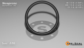 O-Ring, Black Neoprene Size: 220, Durometer: 70 Nominal Dimensions: Inner Diameter: 1 14/39(1.359) Inches (3.45186Cm), Outer Diameter: 1 7/11(1.637) Inches (4.15798Cm), Cross Section: 5/36(0.139) Inches (3.53mm) Part Number: OR70BLKNEO220