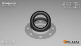 O-Ring, Black Neoprene Size: 313, Durometer: 70 Nominal Dimensions: Inner Diameter: 47/71(0.662) Inches (1.68148Cm), Outer Diameter: 1 5/61(1.082) Inches (2.74828Cm), Cross Section: 17/81(0.21) Inches (5.33mm) Part Number: OR70BLKNEO313