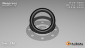 O-Ring, Black Neoprene Size: 316, Durometer: 70 Nominal Dimensions: Inner Diameter: 17/20(0.85) Inches (2.159Cm), Outer Diameter: 1 10/37(1.27) Inches (3.2258Cm), Cross Section: 17/81(0.21) Inches (5.33mm) Part Number: OR70BLKNEO316