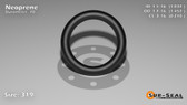 O-Ring, Black Neoprene Size: 319, Durometer: 70 Nominal Dimensions: Inner Diameter: 1 1/27(1.037) Inches (2.63398Cm), Outer Diameter: 1 16/35(1.457) Inches (3.70078Cm), Cross Section: 17/81(0.21) Inches (5.33mm) Part Number: OR70BLKNEO319