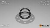 O-Ring, Black Aflas Size: 116, Durometer: 80 Nominal Dimensions: Inner Diameter: 14/19(0.737) Inches (1.87198Cm), Outer Diameter: 33/35(0.943) Inches (2.39522Cm), Cross Section: 7/68(0.103) Inches (2.62mm) Part Number: OR80AFL116