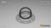 O-Ring, Black Aflas Size: 117, Durometer: 80 Nominal Dimensions: Inner Diameter: 4/5(0.799) Inches (2.02946Cm), Outer Diameter: 1(1.005) Inches (2.5527Cm), Cross Section: 7/68(0.103) Inches (2.62mm) Part Number: OR80AFL117
