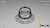 O-Ring, Black Aflas Size: 118, Durometer: 80 Nominal Dimensions: Inner Diameter: 25/29(0.862) Inches (2.18948Cm), Outer Diameter: 1 3/44(1.068) Inches (2.71272Cm), Cross Section: 7/68(0.103) Inches (2.62mm) Part Number: OR80AFL118