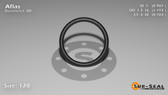 O-Ring, Black Aflas Size: 120, Durometer: 80 Nominal Dimensions: Inner Diameter: 76/77(0.987) Inches (2.50698Cm), Outer Diameter: 1 11/57(1.193) Inches (3.03022Cm), Cross Section: 7/68(0.103) Inches (2.62mm) Part Number: OR80AFL120