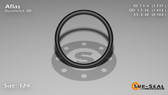 O-Ring, Black Aflas Size: 124, Durometer: 80 Nominal Dimensions: Inner Diameter: 1 9/38(1.237) Inches (3.14198Cm), Outer Diameter: 1 35/79(1.443) Inches (3.66522Cm), Cross Section: 7/68(0.103) Inches (2.62mm) Part Number: OR80AFL124