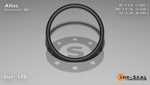 O-Ring, Black Aflas Size: 126, Durometer: 80 Nominal Dimensions: Inner Diameter: 1 21/58(1.362) Inches (3.45948Cm), Outer Diameter: 1 25/44(1.568) Inches (3.98272Cm), Cross Section: 7/68(0.103) Inches (2.62mm) Part Number: OR80AFL126