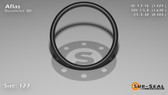 O-Ring, Black Aflas Size: 127, Durometer: 80 Nominal Dimensions: Inner Diameter: 1 39/92(1.424) Inches (3.61696Cm), Outer Diameter: 1 17/27(1.63) Inches (4.1402Cm), Cross Section: 7/68(0.103) Inches (2.62mm) Part Number: OR80AFL127