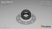 O-Ring, Black BUNA/NBR Nitrile Size: 309, Durometer: 90 Nominal Dimensions: Inner Diameter: 7/17(0.412) Inches (1.04648Cm), Outer Diameter: 5/6(0.832) Inches (2.11328Cm), Cross Section: 17/81(0.21) Inches (5.33mm) Part Number: OR90BLKBUN309