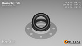 O-Ring, Black BUNA/NBR Nitrile Size: 311, Durometer: 90 Nominal Dimensions: Inner Diameter: 29/54(0.537) Inches (1.36398Cm), Outer Diameter: 89/93(0.957) Inches (2.43078Cm), Cross Section: 17/81(0.21) Inches (5.33mm) Part Number: OR90BLKBUN311