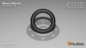 O-Ring, Black BUNA/NBR Nitrile Size: 315, Durometer: 90 Nominal Dimensions: Inner Diameter: 48/61(0.787) Inches (1.99898Cm), Outer Diameter: 1 6/29(1.207) Inches (3.06578Cm), Cross Section: 17/81(0.21) Inches (5.33mm) Part Number: OR90BLKBUN315