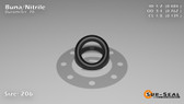 O-Ring, Black BUNA/NBR Nitrile Size: 206, Durometer: 70 Nominal Dimensions: Inner Diameter: 15/31(0.484) Inches (1.22936Cm), Outer Diameter: 16/21(0.762) Inches (1.93548Cm), Cross Section: 5/36(0.139) Inches (3.53mm) Part Number: ORBN206