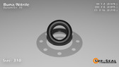 O-Ring, Black BUNA/NBR Nitrile Size: 310, Durometer: 70 Nominal Dimensions: Inner Diameter: 19/40(0.475) Inches (1.2065Cm), Outer Diameter: 17/19(0.895) Inches (2.2733Cm), Cross Section: 17/81(0.21) Inches (5.33mm) Part Number: ORBN310