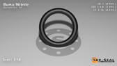 O-Ring, Black BUNA/NBR Nitrile Size: 318, Durometer: 70 Nominal Dimensions: Inner Diameter: 39/40(0.975) Inches (2.4765Cm), Outer Diameter: 1 32/81(1.395) Inches (3.5433Cm), Cross Section: 17/81(0.21) Inches (5.33mm) Part Number: ORBN318