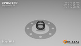 O-Ring, Black EPDM/EPR/Ethylene/Propylene Size: 011, Durometer: 70 Nominal Dimensions: Inner Diameter: 28/93(0.301) Inches (7.65mm), Outer Diameter: 15/34(0.441) Inches (1.12014Cm), Cross Section: 4/57(0.07) Inches (1.78mm) Part Number: OREPD011