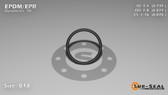 O-Ring, Black EPDM/EPR/Ethylene/Propylene Size: 018, Durometer: 70 Nominal Dimensions: Inner Diameter: 17/23(0.739) Inches (1.87706Cm), Outer Diameter: 29/33(0.879) Inches (2.23266Cm), Cross Section: 4/57(0.07) Inches (1.78mm) Part Number: OREPD018