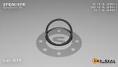 O-Ring, Black EPDM/EPR/Ethylene/Propylene Size: 019, Durometer: 70 Nominal Dimensions: Inner Diameter: 4/5(0.801) Inches (2.03454Cm), Outer Diameter: 16/17(0.941) Inches (2.39014Cm), Cross Section: 4/57(0.07) Inches (1.78mm) Part Number: OREPD019