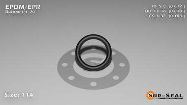 O-Ring, Black EPDM/EPR/Ethylene/Propylene Size: 114, Durometer: 70 Nominal Dimensions: Inner Diameter: 41/67(0.612) Inches (1.55448Cm), Outer Diameter: 9/11(0.818) Inches (2.07772Cm), Cross Section: 7/68(0.103) Inches (2.62mm) Part Number: OREPD114