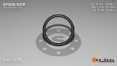 O-Ring, Black EPDM/EPR/Ethylene/Propylene Size: 119, Durometer: 70 Nominal Dimensions: Inner Diameter: 73/79(0.924) Inches (2.34696Cm), Outer Diameter: 1 10/77(1.13) Inches (2.8702Cm), Cross Section: 7/68(0.103) Inches (2.62mm) Part Number: OREPD119