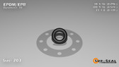 O-Ring, Black EPDM/EPR/Ethylene/Propylene Size: 203, Durometer: 70 Nominal Dimensions: Inner Diameter: 29/98(0.296) Inches (7.52mm), Outer Diameter: 31/54(0.574) Inches (1.45796Cm), Cross Section: 5/36(0.139) Inches (3.53mm) Part Number: OREPD203