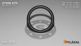 O-Ring, Black EPDM/EPR/Ethylene/Propylene Size: 215, Durometer: 70 Nominal Dimensions: Inner Diameter: 1 4/87(1.046) Inches (2.65684Cm), Outer Diameter: 1 23/71(1.324) Inches (3.36296Cm), Cross Section: 5/36(0.139) Inches (3.53mm) Part Number: OREPD215