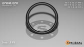 O-Ring, Black EPDM/EPR/Ethylene/Propylene Size: 219, Durometer: 70 Nominal Dimensions: Inner Diameter: 1 8/27(1.296) Inches (3.29184Cm), Outer Diameter: 1 31/54(1.574) Inches (3.99796Cm), Cross Section: 5/36(0.139) Inches (3.53mm) Part Number: OREPD219