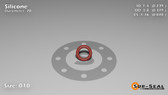 O-Ring, Orange Vinyl Methyl Silicone Size: 010, Durometer: 70 Nominal Dimensions: Inner Diameter: 11/46(0.239) Inches (6.07mm), Outer Diameter: 36/95(0.379) Inches (0.379mm), Cross Section: 4/57(0.07) Inches (1.78mm) Part Number: ORSIL010