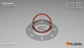 O-Ring, Orange Vinyl Methyl Silicone Size: 019, Durometer: 70 Nominal Dimensions: Inner Diameter: 4/5(0.801) Inches (2.03454Cm), Outer Diameter: 16/17(0.941) Inches (2.39014Cm), Cross Section: 4/57(0.07) Inches (1.78mm) Part Number: ORSIL019