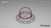 O-Ring, Orange Vinyl Methyl Silicone Size: 020, Durometer: 70 Nominal Dimensions: Inner Diameter: 19/22(0.864) Inches (2.19456Cm), Outer Diameter: 1(1.004) Inches (2.55016Cm), Cross Section: 4/57(0.07) Inches (1.78mm) Part Number: ORSIL020