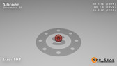 O-Ring, Orange Vinyl Methyl Silicone Size: 102, Durometer: 70 Nominal Dimensions: Inner Diameter: 2/41(0.049) Inches (1.24mm), Outer Diameter: 13/51(0.255) Inches (0.255mm), Cross Section: 7/68(0.103) Inches (2.62mm) Part Number: ORSIL102
