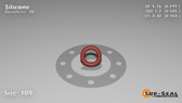 O-Ring, Orange Vinyl Methyl Silicone Size: 109, Durometer: 70 Nominal Dimensions: Inner Diameter: 29/97(0.299) Inches (7.59mm), Outer Diameter: 50/99(0.505) Inches (1.2827Cm), Cross Section: 7/68(0.103) Inches (2.62mm) Part Number: ORSIL109