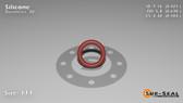 O-Ring, Orange Vinyl Methyl Silicone Size: 111, Durometer: 70 Nominal Dimensions: Inner Diameter: 39/92(0.424) Inches (1.07696Cm), Outer Diameter: 46/73(0.63) Inches (1.6002Cm), Cross Section: 7/68(0.103) Inches (2.62mm) Part Number: ORSIL111