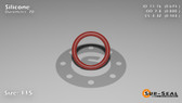 O-Ring, Orange Vinyl Methyl Silicone Size: 115, Durometer: 70 Nominal Dimensions: Inner Diameter: 31/46(0.674) Inches (1.71196Cm), Outer Diameter: 22/25(0.88) Inches (2.2352Cm), Cross Section: 7/68(0.103) Inches (2.62mm) Part Number: ORSIL115