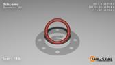 O-Ring, Orange Vinyl Methyl Silicone Size: 116, Durometer: 70 Nominal Dimensions: Inner Diameter: 14/19(0.737) Inches (1.87198Cm), Outer Diameter: 33/35(0.943) Inches (2.39522Cm), Cross Section: 7/68(0.103) Inches (2.62mm) Part Number: ORSIL116