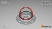 O-Ring, Orange Vinyl Methyl Silicone Size: 118, Durometer: 70 Nominal Dimensions: Inner Diameter: 25/29(0.862) Inches (2.18948Cm), Outer Diameter: 1 3/44(1.068) Inches (2.71272Cm), Cross Section: 7/68(0.103) Inches (2.62mm) Part Number: ORSIL118