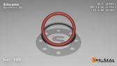 O-Ring, Orange Vinyl Methyl Silicone Size: 120, Durometer: 70 Nominal Dimensions: Inner Diameter: 76/77(0.987) Inches (2.50698Cm), Outer Diameter: 1 11/57(1.193) Inches (3.03022Cm), Cross Section: 7/68(0.103) Inches (2.62mm) Part Number: ORSIL120